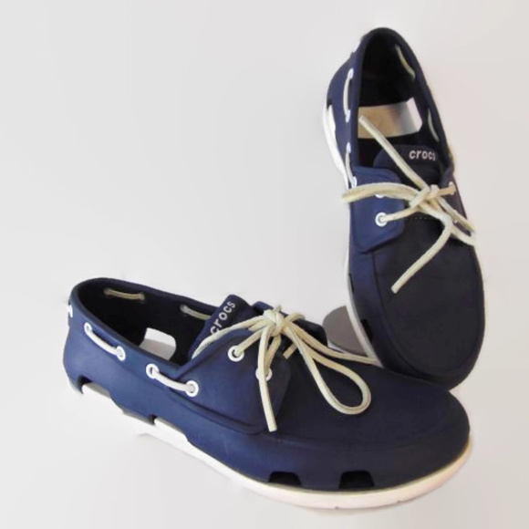 e4f32e0aeb CROCS Other - Crocs Beach Line Blue Boat Shoes Mens 10 Lacee Up